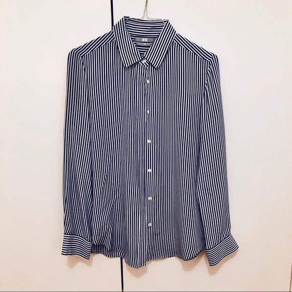 740a8fa1ef69 UNIQLO blue and white striped silk blouse XS 0 2. M_5a68e06136b9de73eb808bf3